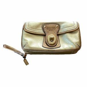 Gorgeous Gold Metallic Coach Wristlet or Wallet
